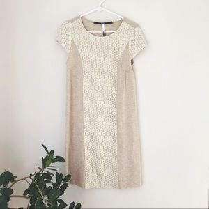 Kensie Tan and Cream Lace Cap Sleeve Dress